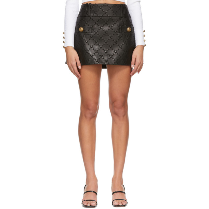 Balmain 黑色绗缝皮革短裙