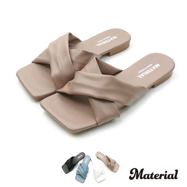 拖鞋 交叉方頭平底拖鞋 T69013