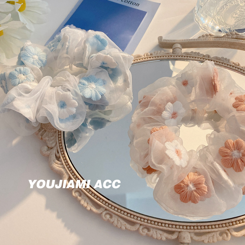 韓國甜美刺繡花朵發圈歐根紗大腸圈發繩ins網紗頭繩發飾F373