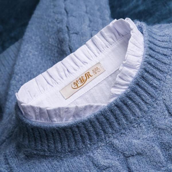 假領子 假領子女荷葉花邊領百搭假領上衣女襯衫秋冬打底純棉裝飾領子配飾 韓國時尚週
