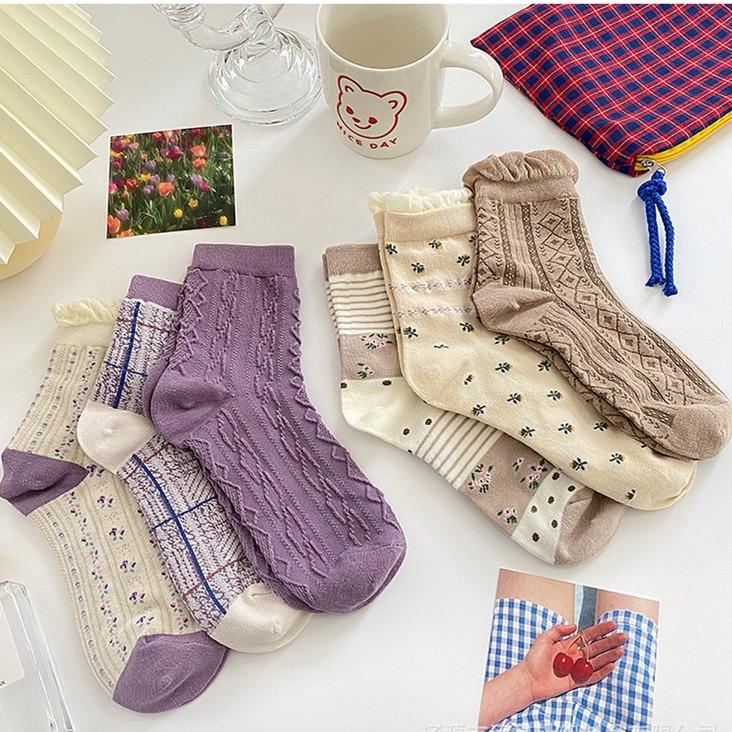 柳惠珠襪子 原創學院風襪子 女中筒襪 ins風韓國泡泡口花邊襪子 可愛日系少女長襪