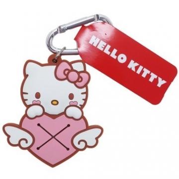 Hello Kitty 鑰匙圈 矽膠吊飾 鎖圈 掛飾 毛巾夾 毛巾收納 (粉棕 愛心)