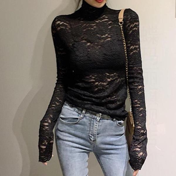 降價兩天 氣質蕾絲打底衫女 春秋2020新款高領內搭洋氣小衫 薄款網紗仙氣上衣