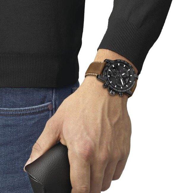 TISSOT天梭 T1256173605101  SUPERSPORT 三眼計時經典石英腕錶/ 黑 45.5mm
