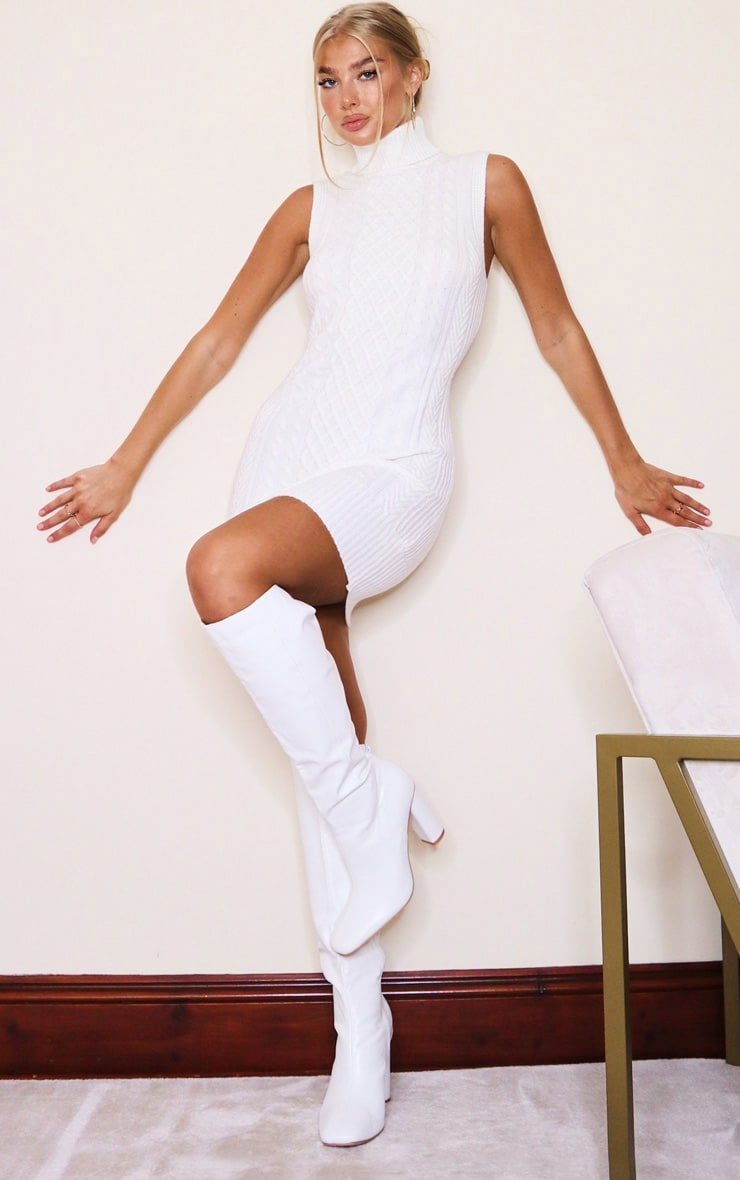 White Sleeveless Cable Knit Roll Neck Jumper Dress