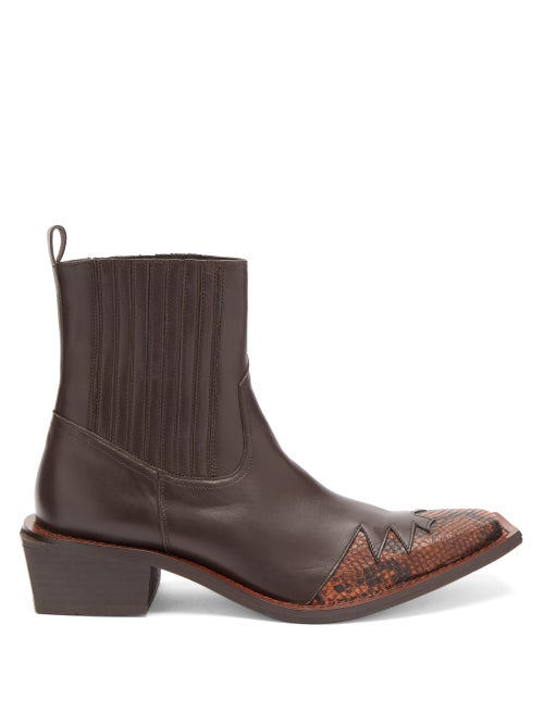 Martine Rose - Que Angular-sole Leather Boots - Mens - Brown