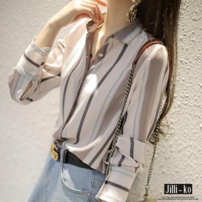 JILLI-KO 寬細直條紋時尚襯衫- 白色