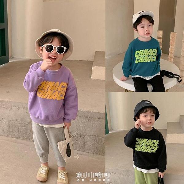 棉小班童裝男童衛衣2020秋裝新款洋氣寶寶字母印花上衣圓領套頭衫 快速出貨