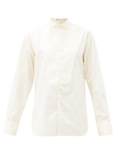Umit Benan B+ - Winged-collar Front-bib Cotton-poplin Shirt - Womens - White