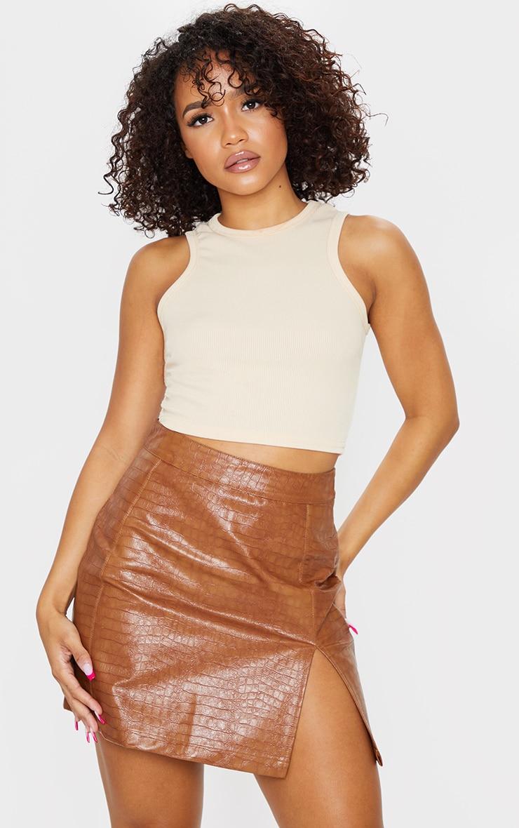 Tan Croc Vinyl Seam Detail Mini Skirt