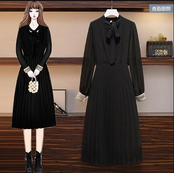 洋裝打底裙雪紡裙長袖裙子內搭L-4XL中大尺碼洋氣雪紡連衣裙遮肉减齡3F0885160.1號公館