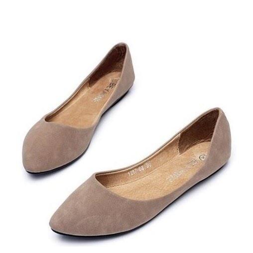 大尺碼女鞋小尺碼女鞋素面磨砂質感百搭尖頭舒適娃娃鞋駝色(31-48)現貨#七日旅行