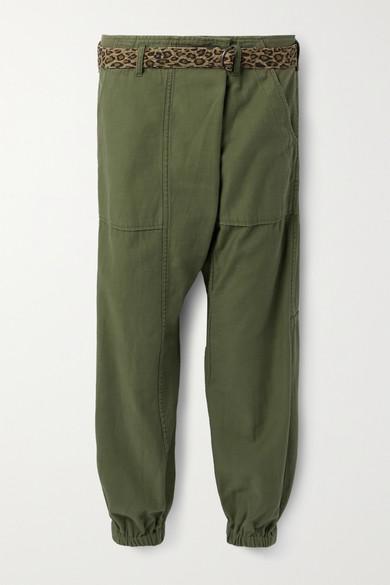 R13 - 配腰带纯棉锥形裤 - 军绿色 - 28