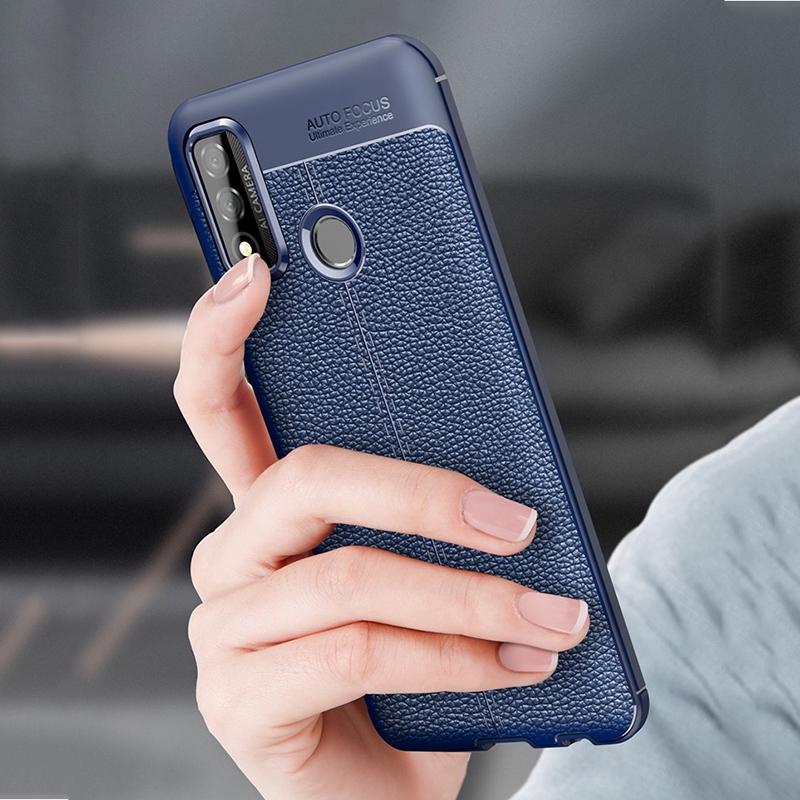 華為 P Smart 2020手機殼豪華商務荔枝紋軟面甲防震手機后蓋保護殼