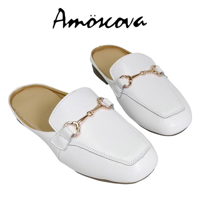 【Amoscova】金屬扣設計穆勒鞋527-白色