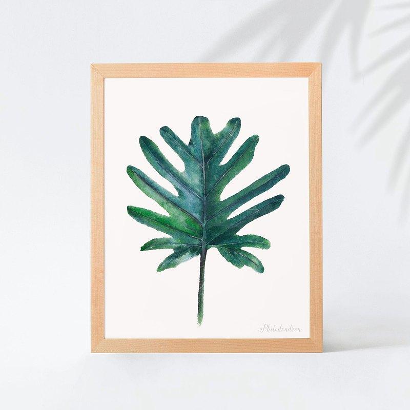 植物的靜默 臥房餐廳掛畫 植物水彩複製畫 熱帶植物葉子裝飾畫