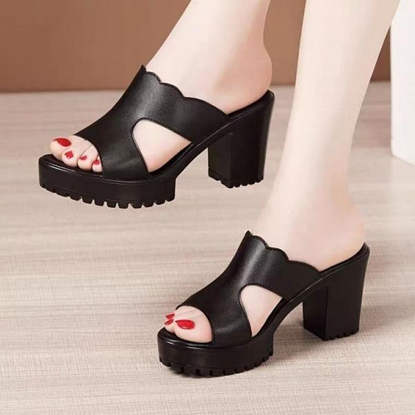 魚口鞋 高跟拖鞋女夏外穿時尚2021新款粗跟軟皮軟底防滑厚底魚嘴涼拖鞋女  卡洛琳
