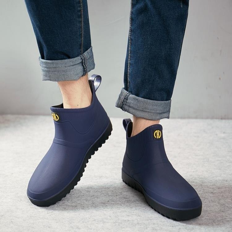 雨鞋男加絨短筒厚底防滑防水鞋時尚低筒雨靴套鞋廚房釣魚工作膠鞋