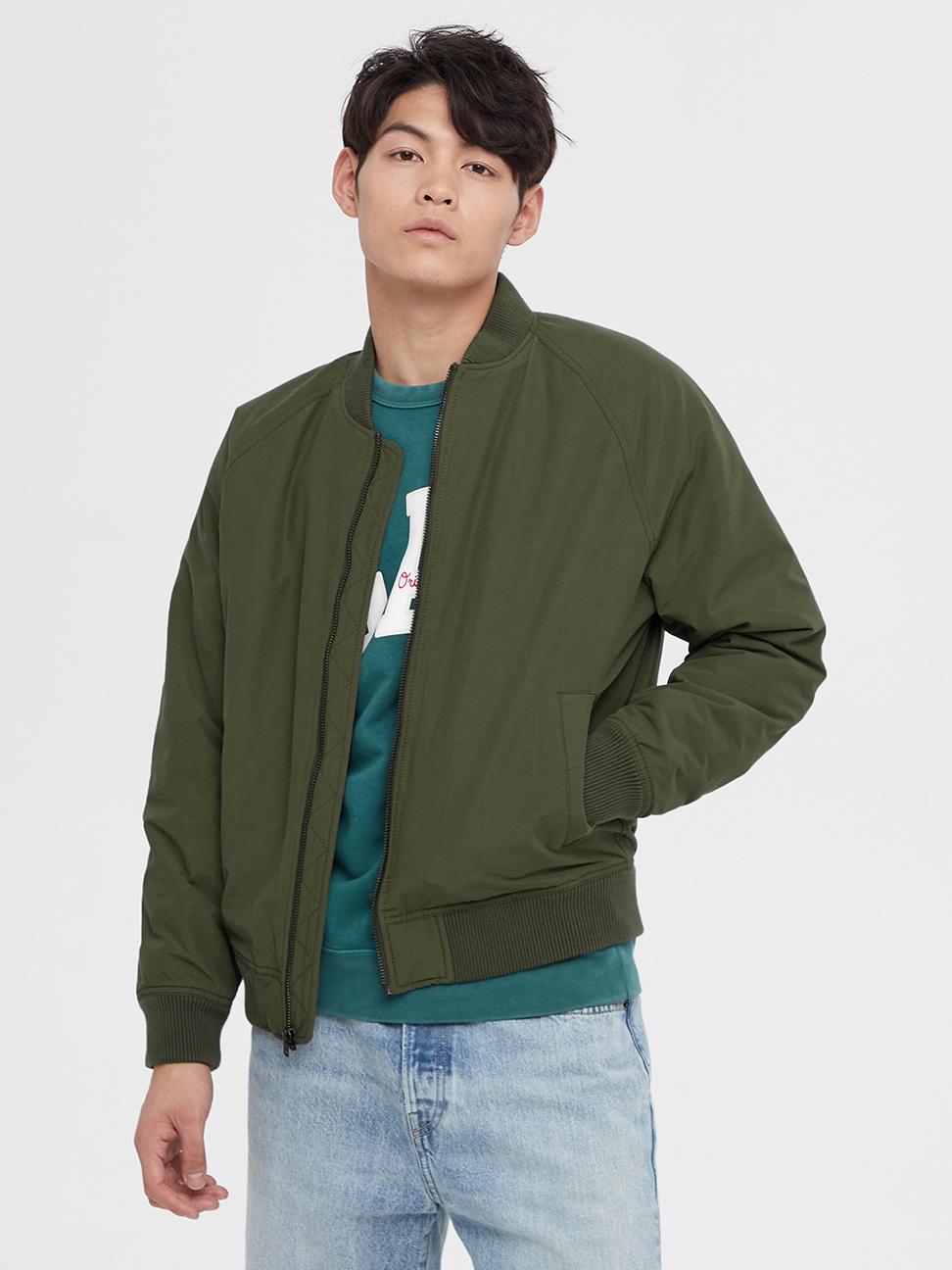 男裝 簡約風格純色棒球領外套