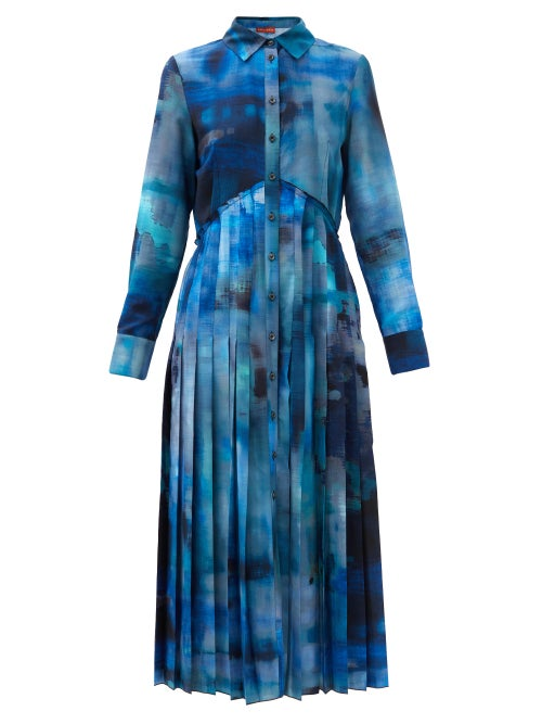 Altuzarra - Vivian Paint-print Crepe Midi Shirt Dress - Womens - Blue Multi