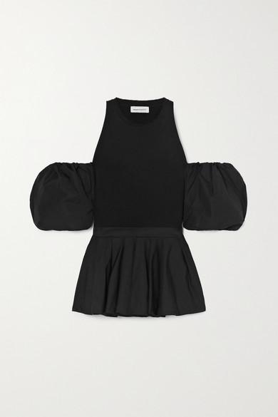Alexander McQueen - 露肩褶裥纯棉平纹布府绸上衣 - 黑色 - IT36