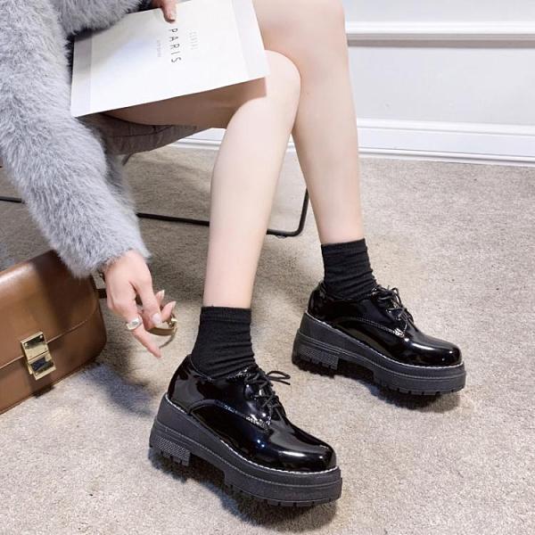 小香英倫風小皮鞋女2020秋季新款百搭軟皮高跟粗跟厚底日系jk單鞋 艾瑞斯