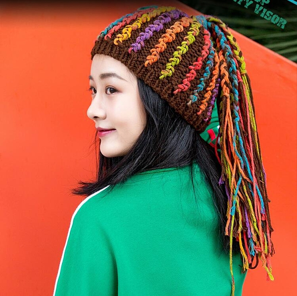 嘻哈風臟辮帽手工棉線編織