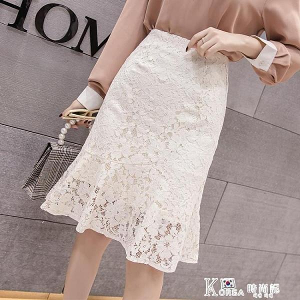 魚尾裙-秋裝2020新款女高腰魚尾裙女百搭蕾絲半身裙子中長款荷葉邊包臀裙 Korea時尚記