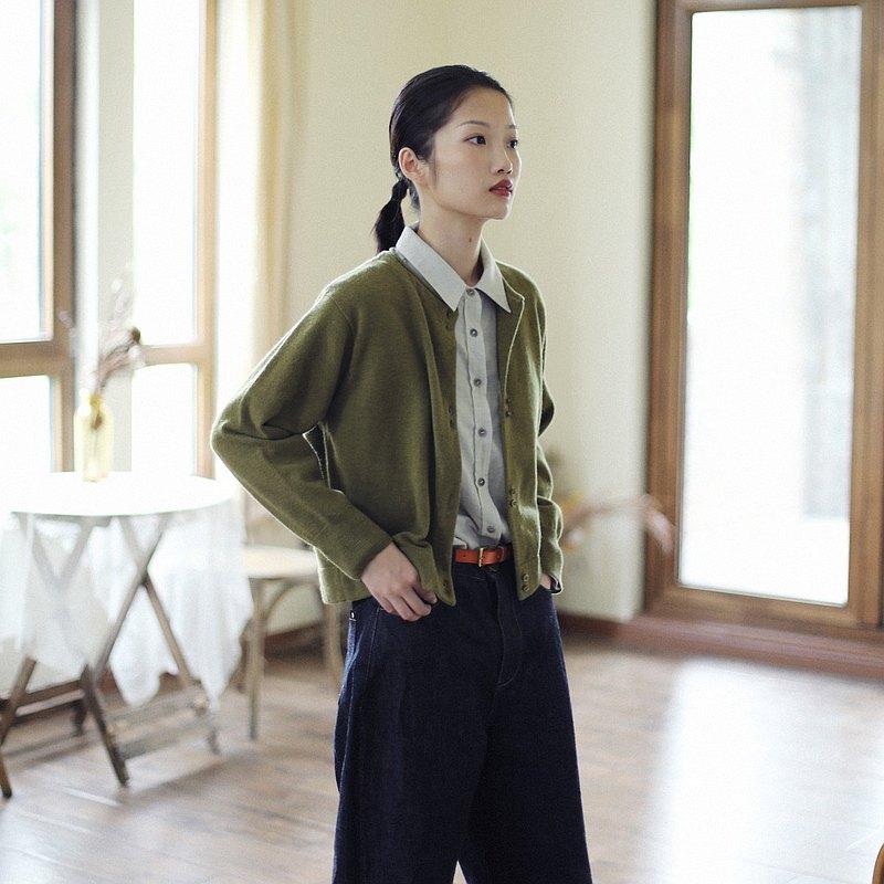 KOOW  云杉 滾邊設計merino wool兩色入針織開衫 圓領羊毛毛衣