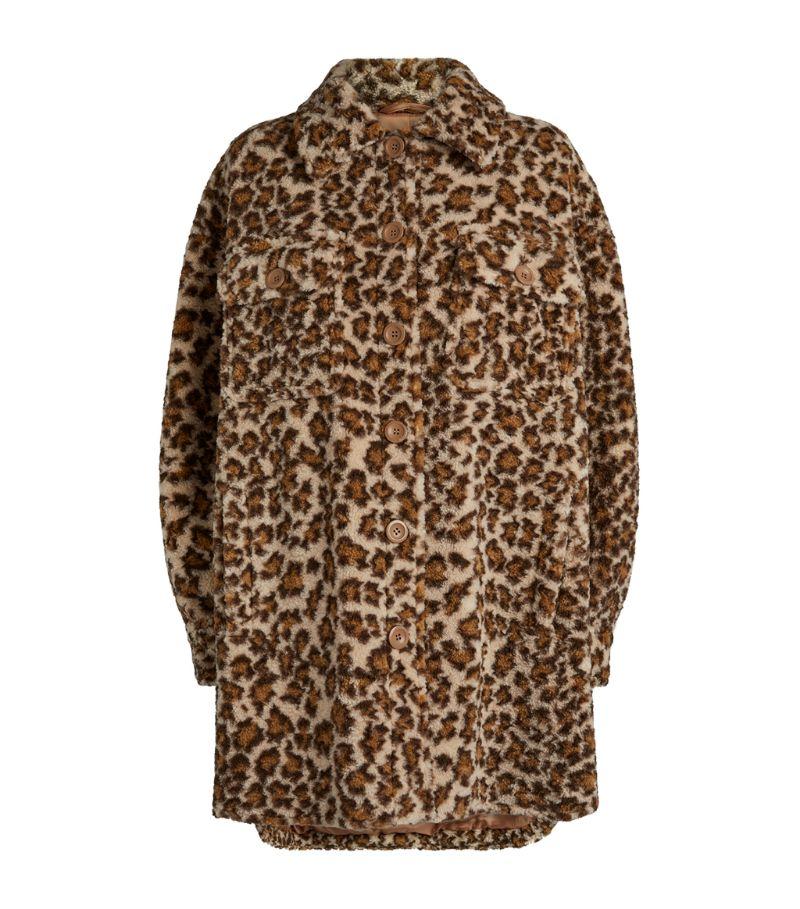 Stand Studio Sabi Faux Fur Leopard Print Jacket
