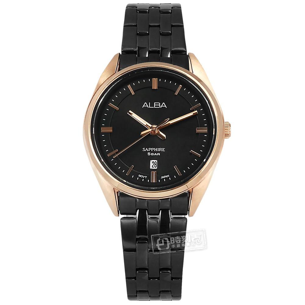 ALBA / 優雅時尚 藍寶石水晶玻璃 日期 不鏽鋼手錶 黑x鍍玫瑰金框 / VJ22-X323SD / 29mm