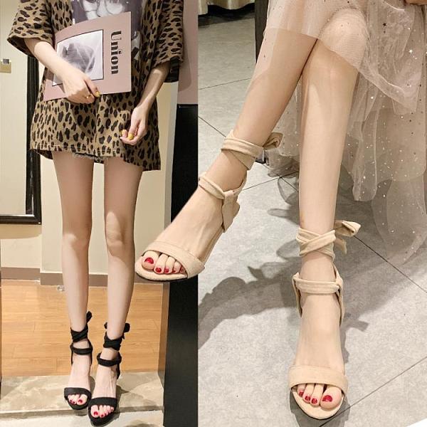 夏季涼鞋一字帶蝴細跟涼鞋