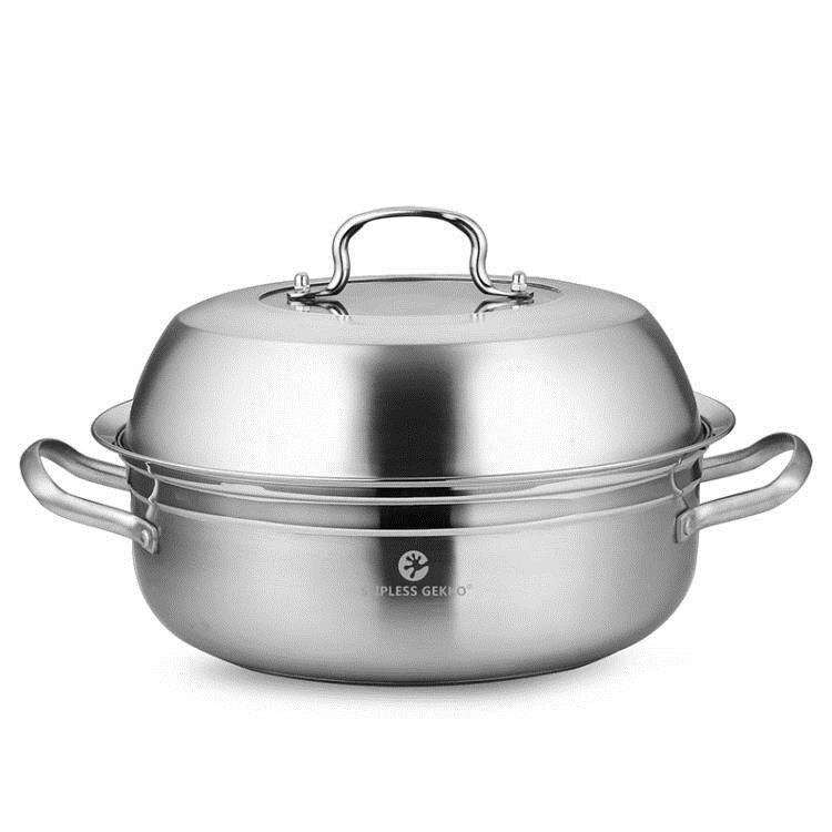 蒸汽火鍋304不銹鋼鍋海鮮氣蒸鍋34cm桑拿鍋湯鍋蒸魚鍋電磁爐家用 LX 美物