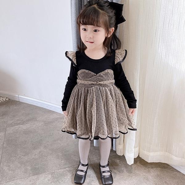 輕奢有品韓韓良品女童網紗洋装2020秋季新品兒童飛袖波點禮服裙
