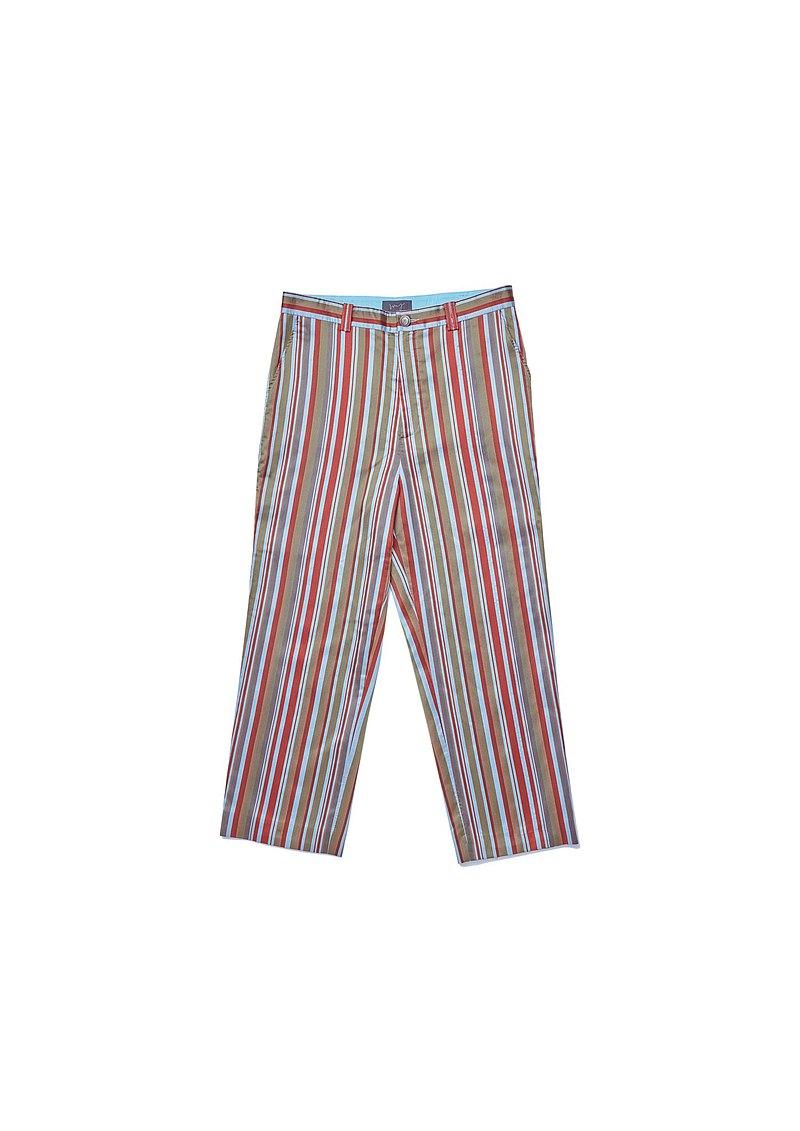 紅藍綠直紋長褲
