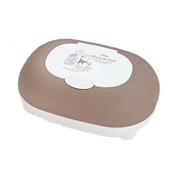 小熊維尼 收納盒 橢圓形 按壓彈蓋 抽取式紙巾盒 面紙盒 置物盒 (棕)