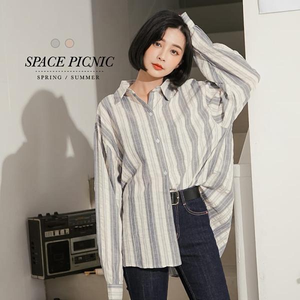 襯衫 Space Picnic|直條紋棉麻長袖襯衫(現貨)【C20081063】