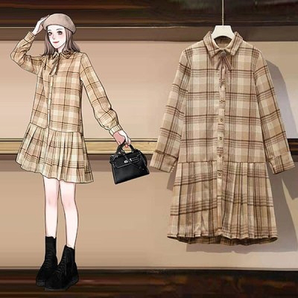 韓版洋裝中長裙中大尺碼L-4XL冬新款胖MM復古港味中長款格子顯瘦遮肉連身裙4F103-6056.依品國際
