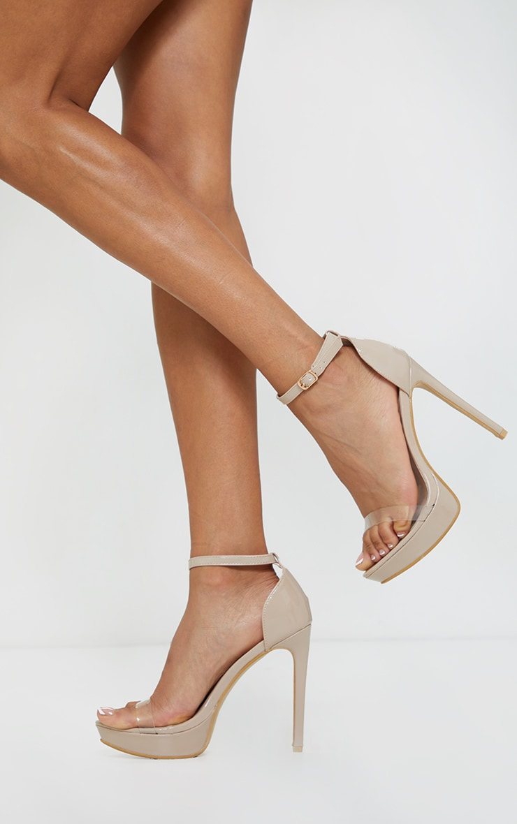 Nude Clear Strap Platform Heeled Sandals