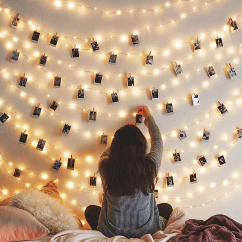 極美led暖白光銅線燈500cm+相片小木夾