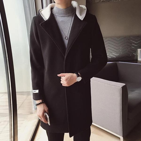 男士風衣中長款2020新款韓版潮流修身秋冬連帽外套休閒毛呢大衣男  降價兩天