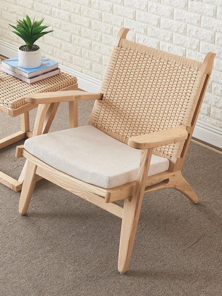 籐椅三件套 藤編北歐單人實木沙髮椅陽桌椅組合籐椅三件套民宿客棧藤傢俱 夢藝家