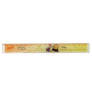 迪士尼 小熊維尼 日製透明塑膠尺《橘黃.對看》17cm.量尺.直尺.學童文具