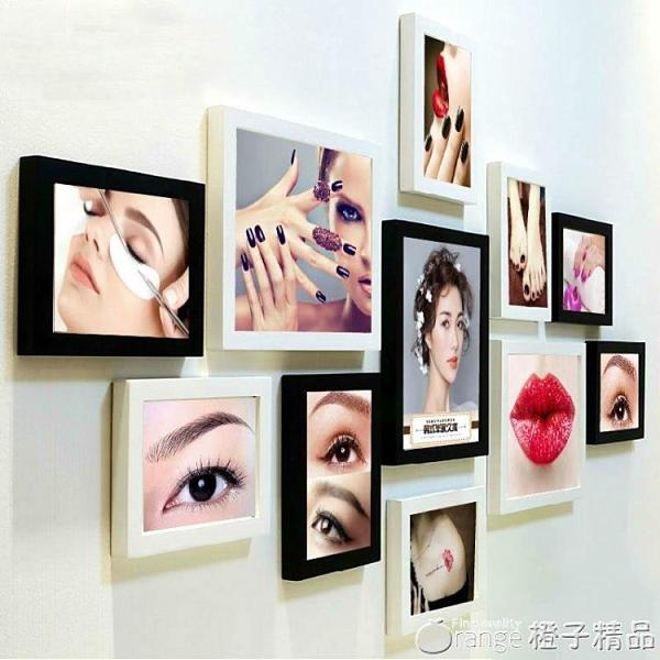 韓式半永久海報眉眼唇美容院背景裝飾畫相框掛畫紋繡美甲照片墻『橙子精品』