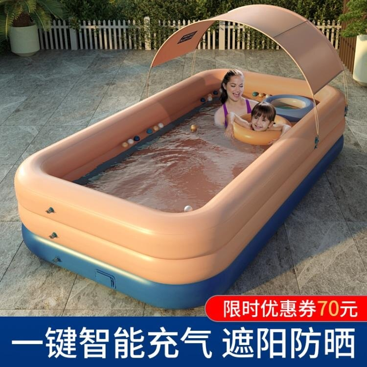 【快速出貨】充氣泳池 超大號兒童充氣游泳池家用成人家庭洗澡池小孩寶寶加厚嬰兒游泳桶 七色堇 新年春節送禮