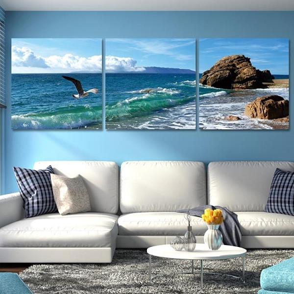 沙發背景牆畫裝飾畫現代客廳簡約三聯餐廳掛畫臥室無框畫大氣壁畫 NMS設計師生活