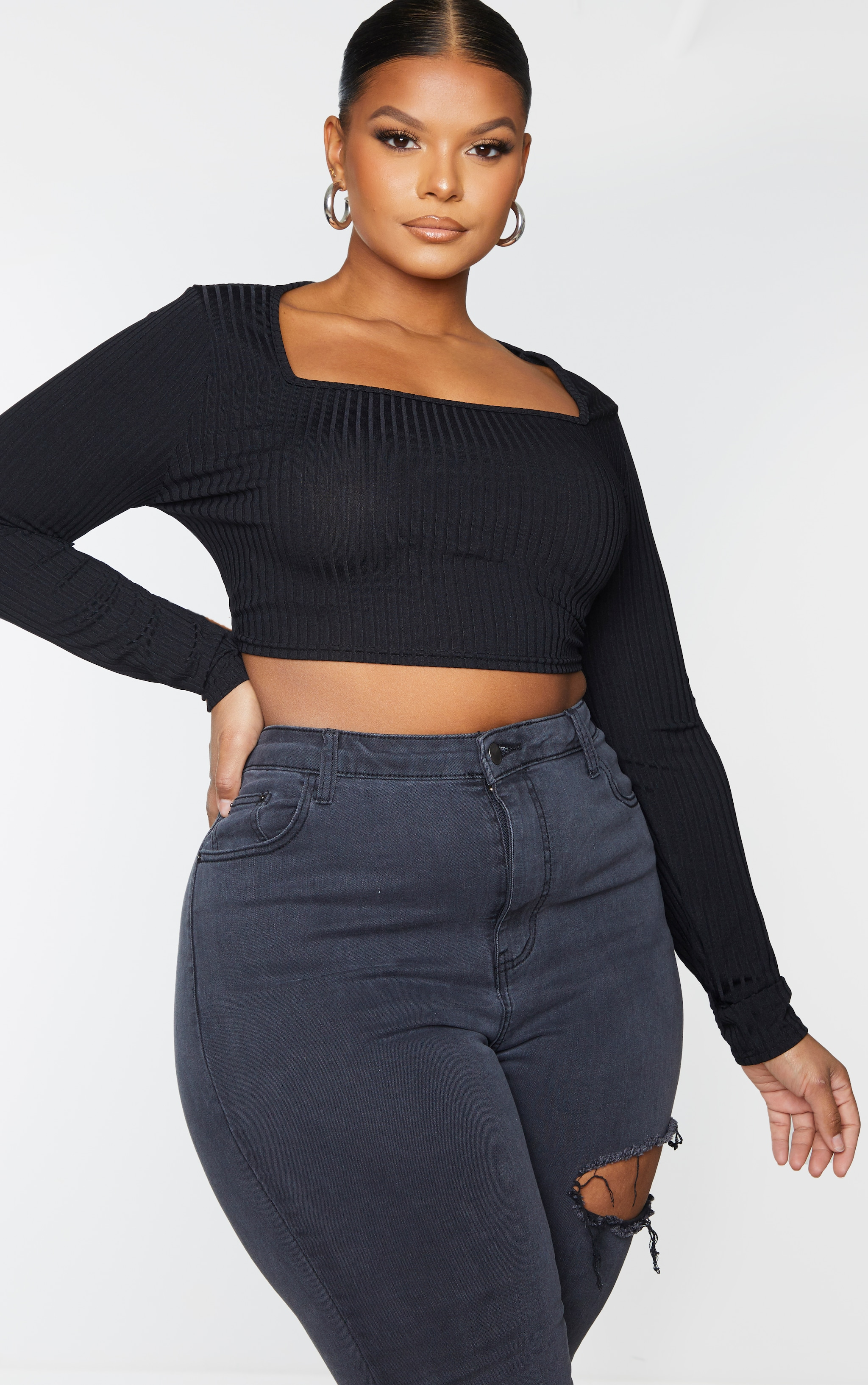 Plus Black Rib Square Neck Long Sleeve Crop Top