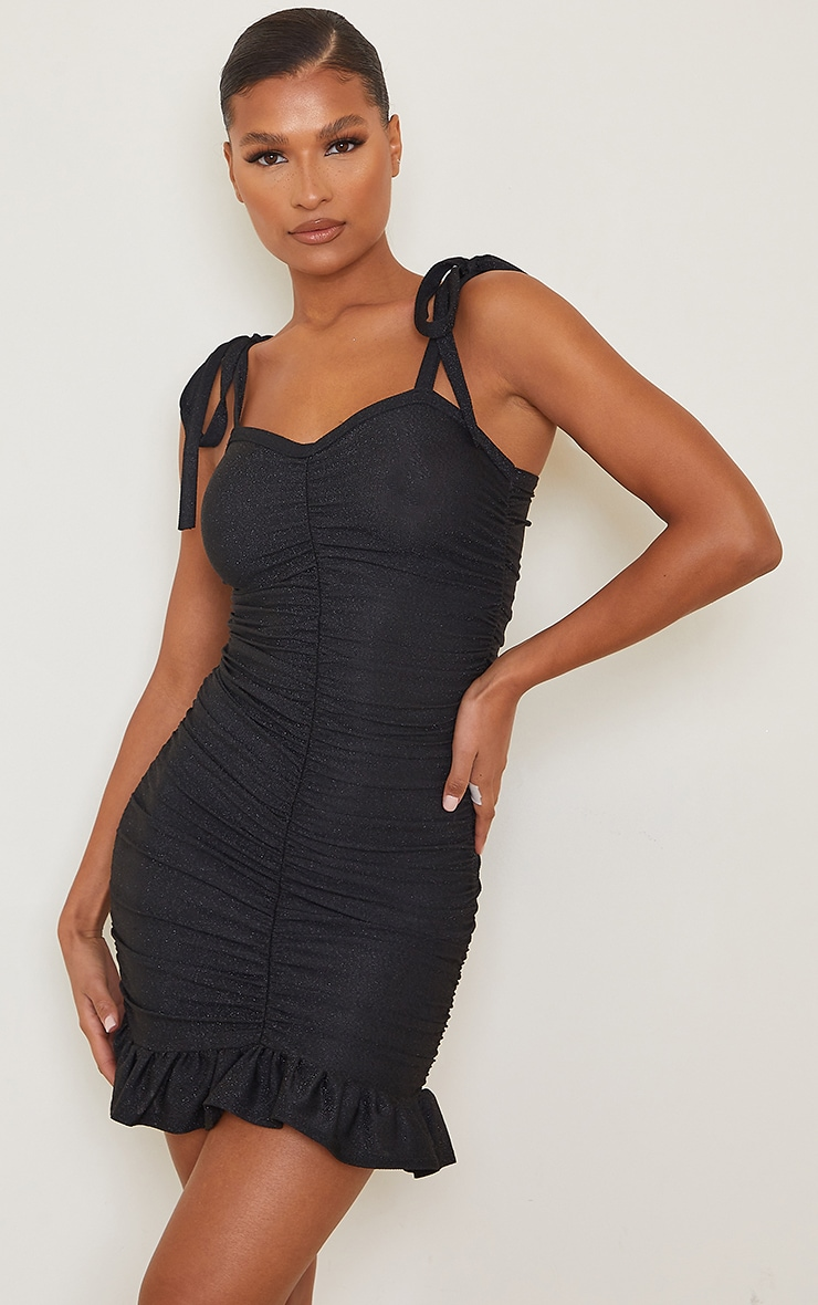 Black Glitter Ruched Tie Strap Bodycon Dress