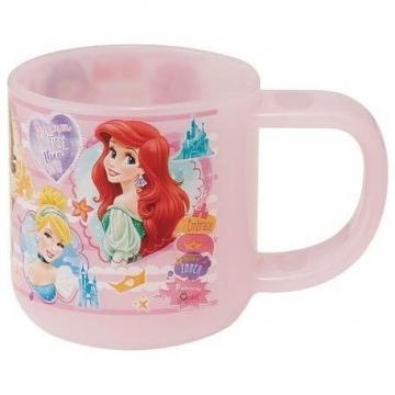 〔小禮堂〕迪士尼 公主 日製單耳塑膠小水杯《粉》180ml.漱口杯.塑膠杯