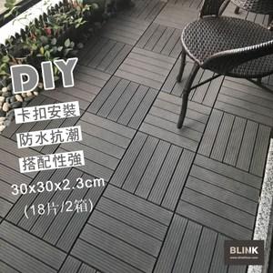 【貝力】環保塑木拼接地板-五線型-共兩色(18片/0.5坪/共2箱)五線型-棕+灰